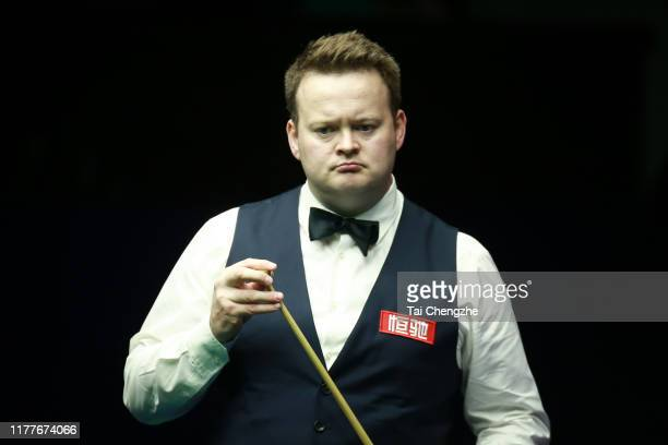 Shaun Murphy of England reacts in the semi-final match against Mark Selby of England on Day six of Evergrande 2019 World Snooker China Championship...