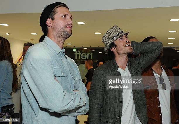 Shaun Neff of Neff Headwear and actor Ian Somerhalder attend the Neff Headwear and the Seventh Letter Sesame Street Art Exhibit in Los Angeles...