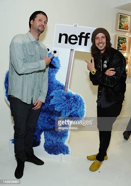 Shaun Neff of Neff Headwear and Cisco Adler attend the Neff Headwear and the Seventh Letter Sesame Street Art Exhibit in Los Angeles California