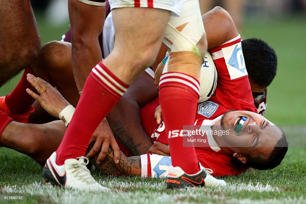 Shaun Nona of the Cutters lies injured on the field during the 2016 State Championship Grand Final match between the Illawarra Cutters and the Burleigh Bears at ANZ Stadium on October 2, 2016 in Sydney, Australia.