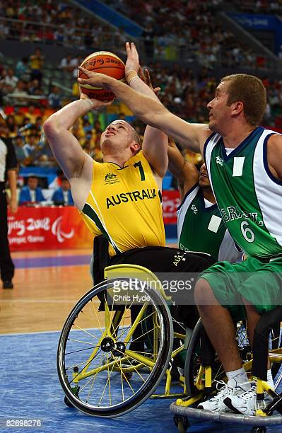 Shaun Norris competes during the Wheelchair Basketball match between Australia and Brazil at the National Indoor Stadium on September 7 2008 in...