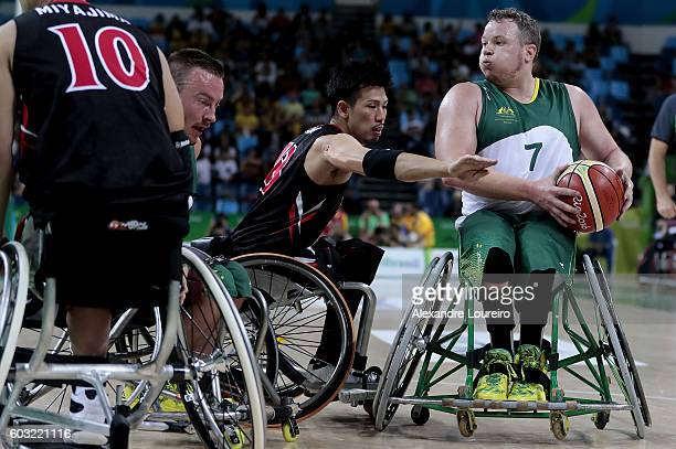 Shaun Norris of Australia and Hiroyuki Nagata of Japan in action during Men's Wheelchair Basketball match between Australia and Japan at Olympic...