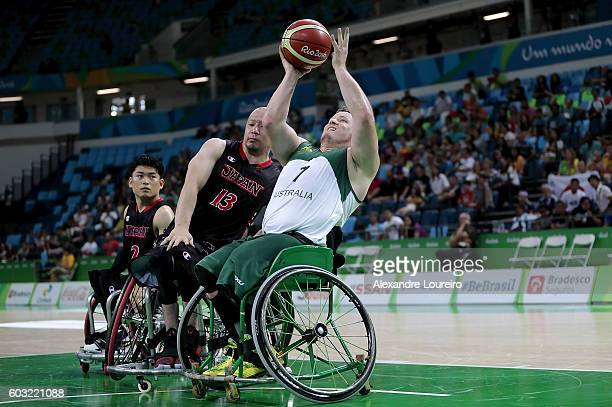 Shaun Norris of Australia and Mitsugu Chiwaki of Japan in action during Men's Wheelchair Basketball match between Australia and Japan at Olympic...