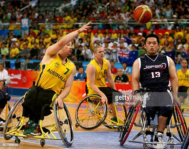 Shaun Norris of Australia competes in the Wheelchair Basketball match between Australia and Japan at the National Indoor Stadium during day seven of...
