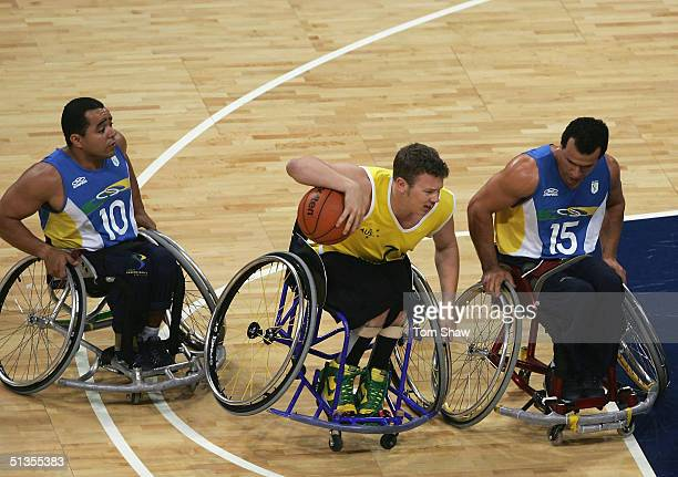 Shaun Norris of Australia in action during the Australia v Brazil Group A match during the Athens 2004 Paralympic Games on September 24 2004 at the...