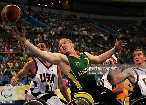 Shaun Norris of Australia in action in the Wheelchair Basketball match between the USA and Australia at the National Indoor Stadium during day five...