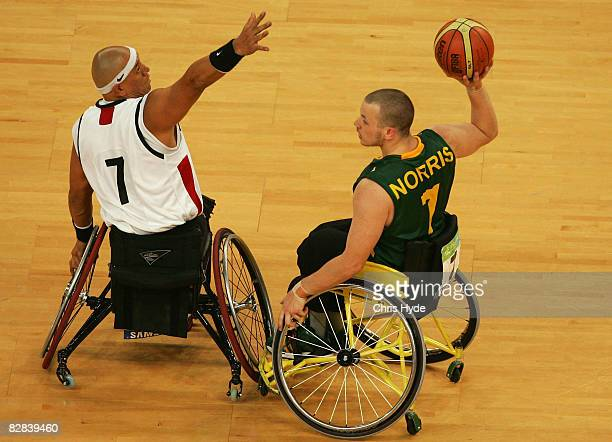 Shaun Norris of Australia looks to pass during the Gold Medal Wheelchair Basketball match between Australia and Canada at the National Indoor Stadium...