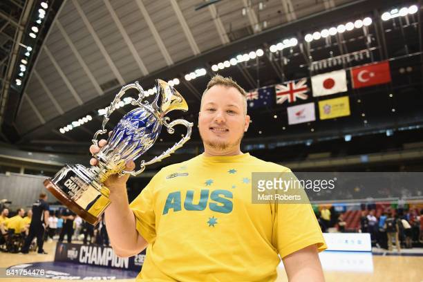 Shaun Norris of Australia poses with the winner trophy after the Wheelchair Basketball World Challenge Cup final between Australia and Great Britain...