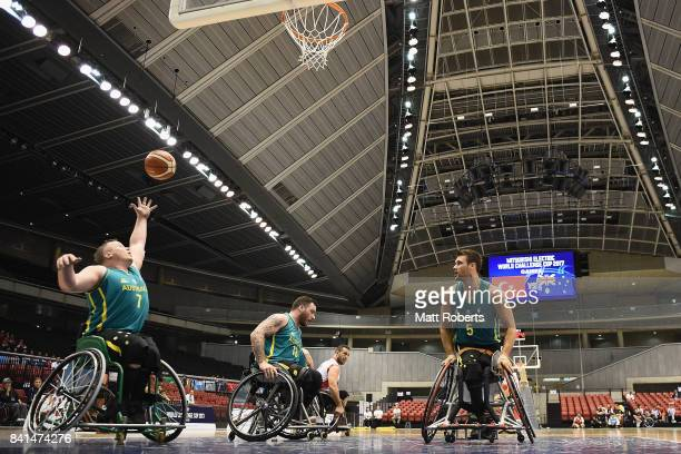 Shaun Norris of Australia rebounds during the Wheelchair Basketball World Challenge Cup match between Turkey and Australia at the Tokyo Metropolitan...