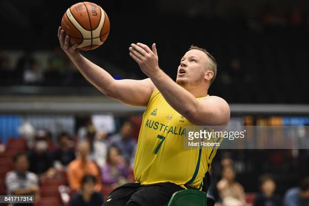 Shaun Norris of Australia shoots a basket during the Wheelchair Basketball World Challenge Cup final between Australia and Great Britain at the Tokyo...