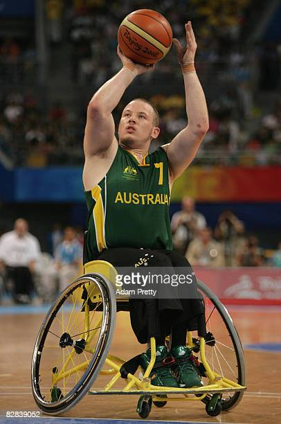 Shaun Norris of Australia shoots during the Gold Medal Wheelchair Basketball match between Australia and Canada at the National Indoor Stadium during...