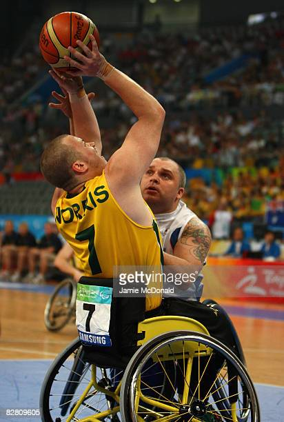 Shaun Norris of Australia takes a shot in the Wheelchair Basketball match between Australia and Great Britain at the National Indoor Stadium during...
