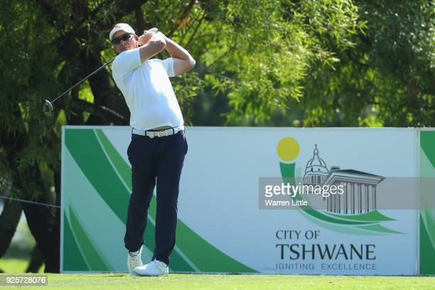 Shaun Norris of South Africa tees off on the 18th hole during the first round of the Tshwane Open at Pretoria Country Club on March 1 2018 in...