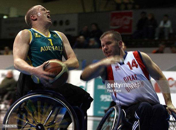 Shaun Norris of the Rollers attempts to have a shot during game two of the fourgame international wheelchair basketball series between the Australian...