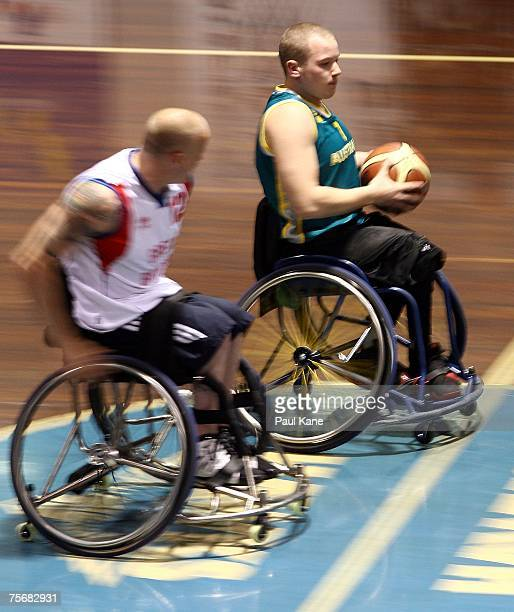 Shaun Norris of the Rollers dribbles the ball during game two of the fourgame international wheelchair basketball series between the Australian...