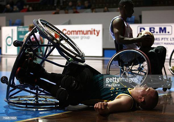 Shaun Norris of the Rollers lies on the court after being involved in a collision with another player during game two of the fourgame international...