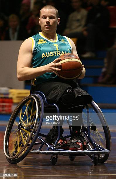 Shaun Norris of the Rollers looks for a pass during game two of the fourgame international wheelchair basketball series between the Australian...