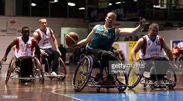 Shaun Norris of the Rollers prepares to have a shot at goal during game two of the fourgame international wheelchair basketball series between the...