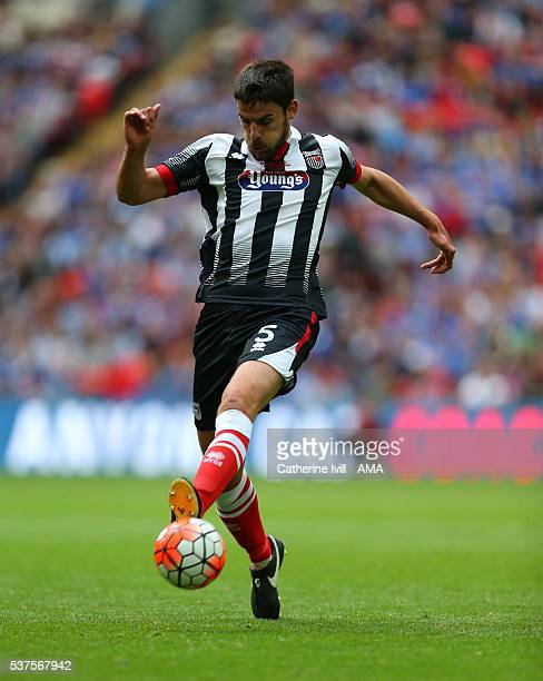 Shaun Pearson of Grimsby Town during The FA Trophy Final match between Grimsby Town and Halifax Town at Wembley Stadium on May 22 2016 in London...