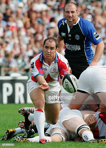 Shaun Perry of Bristol passes the ball during the Guinness Premiership match between Bristol and Bath at the Memorial Stadium on September 4, 2005 in...