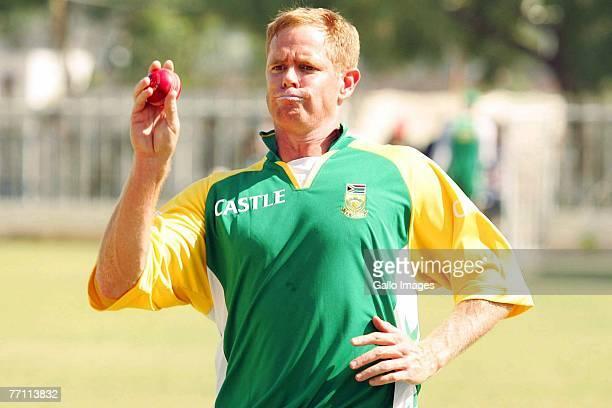 Shaun Pollock during South African practice held at the National Stadium on September 30 2007 in Karachi Pakistan