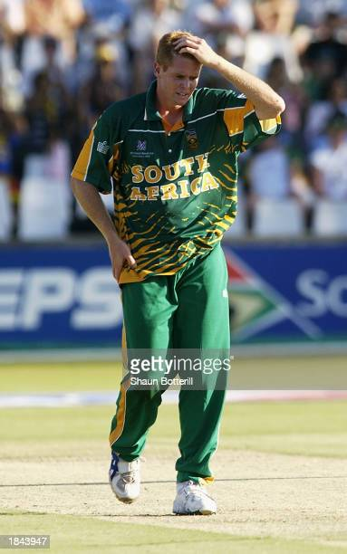 Shaun Pollock of South Africa holds his head in frustration during the ICC Cricket World Cup 2003 Pool B match between South Africa and Sri Lanka...