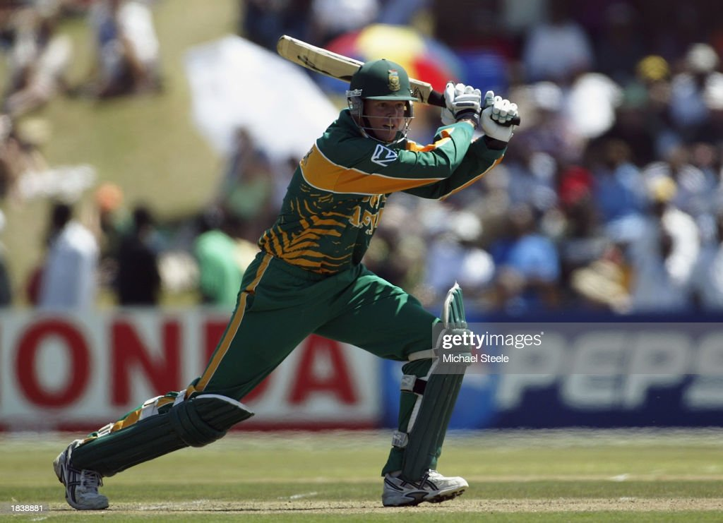 Shaun Pollock of South Africa in action during the ICC Cricket World Cup Pool B match between South Africa and Canada held on February 27, 2003 at Buffalo Park in East London, South Africa. South Africa won the match by 118 runs.