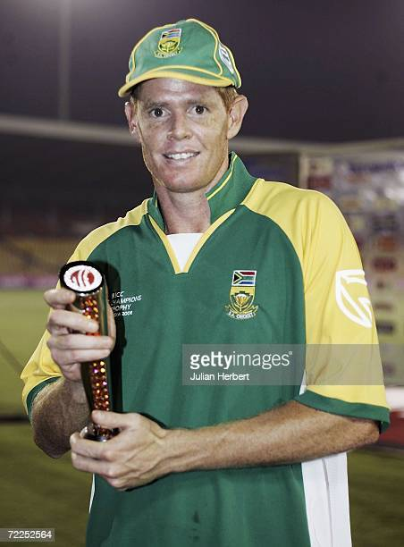 Shaun Pollock of South Africa poses with the man of the match trophy after the ICC Champions Trophy match between Sri Lanka and South Africa at The...