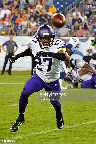 Shaun Prater of the Minnesota Vikings chases a ball during a pre-season game against the Tennessee Titans at Nissan Stadium on September 3, 2015 in...
