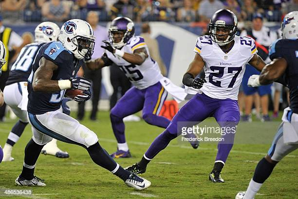 Shaun Prater of the Minnesota Vikings plays against the Tennessee Titans during a pre-season game at Nissan Stadium on September 3, 2015 in...