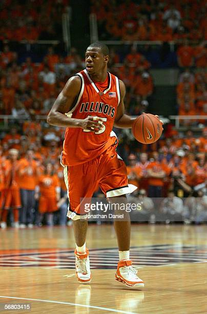 Shaun Pruitt of the Illinois Fighting Illini dribbles the ball down the court during the game against the Michigan State Spartans on January 5, 2006...