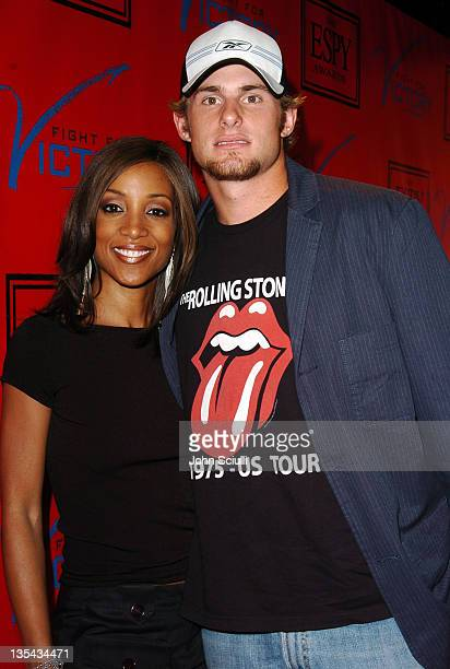 Shaun Robinson and Andy Roddick during Tom Brady and ESPN Host Fight For Victory PreParty for the 12th Annual ESPY Awards at Playboy Mansion in Los...