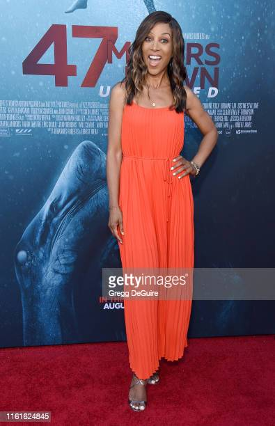 Shaun Robinson arrives at the LA Premiere Of Entertainment Studios' 47 Meters Down Uncaged at Regency Village Theatre on August 13 2019 in Westwood...