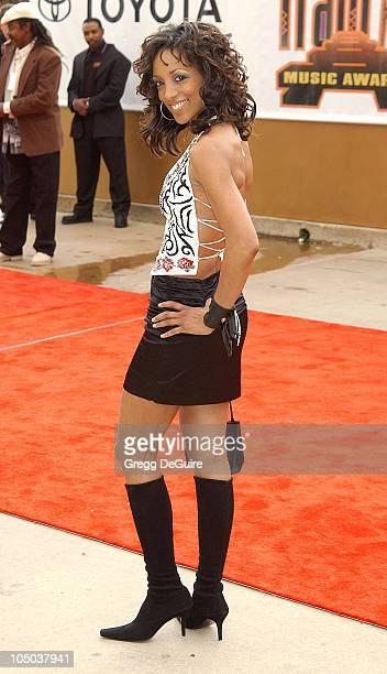 Shaun Robinson wearing Escada during The 17th Annual Soul Train Music Awards Arrivals at Pasadena Civic Auditorium in Pasadena California United...