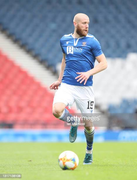 Shaun Rooney of St Johnstone controls the ball during the William Hill Scottish Cup match between St Mirren and St Johnstone at Hampden Park on May...