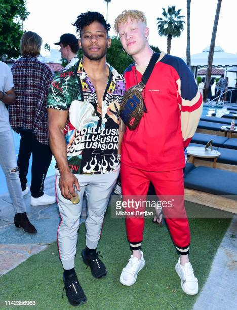 Shaun Ross and guest pose for portrait at beGlammed Sunset Soiree Presented by Fullscreen on April 12 2019 in Palm Springs California