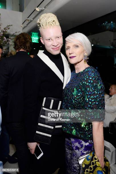 Shaun Ross and Maye Musk attend The Daily Front Row and REVOLVE FLA after party at Mr Chow hosted by Mert Alas on April 2 2017 in Los Angeles...