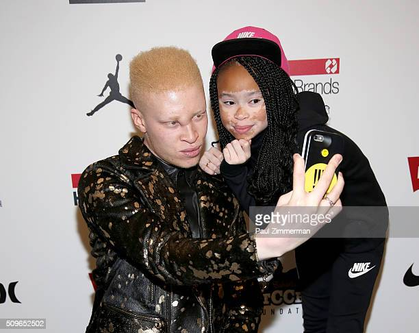 Shaun Ross and model April Star pose backstage at the Rookie USA Presents Kids Rock! - Front Row & Backstage - Fall 2016 New York Fashion Week: The...