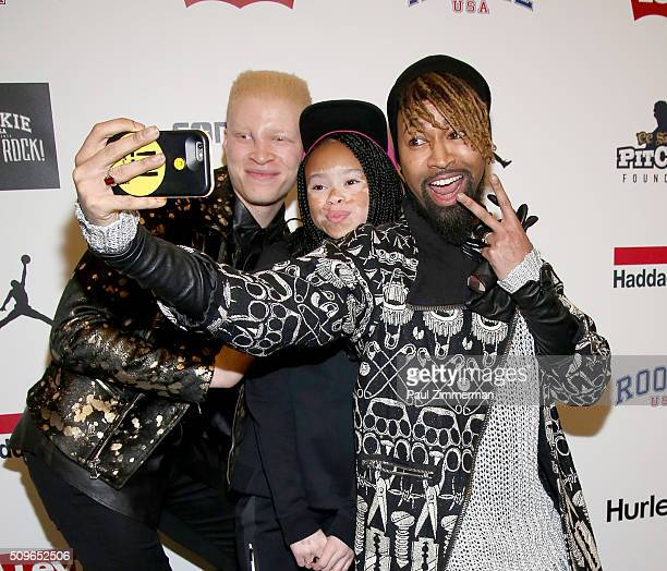 Shaun Ross, April Star and Ty Hunter pose backstage at the Rookie USA Presents Kids Rock! - Front Row & Backstage - Fall 2016 New York Fashion Week:...
