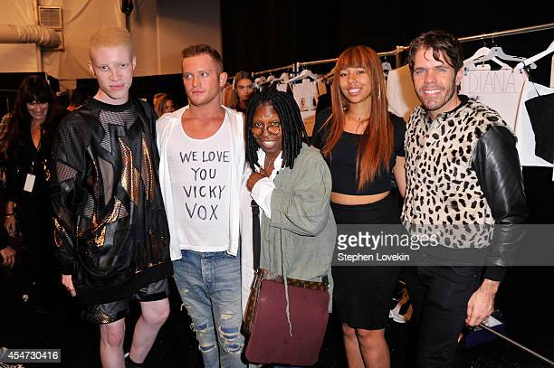 Shaun Ross August Getty Whoopi Goldberg Jerzey Dean and Perez Hilton pose backstage at the August Getty fashion show during MercedesBenz Fashion Week...