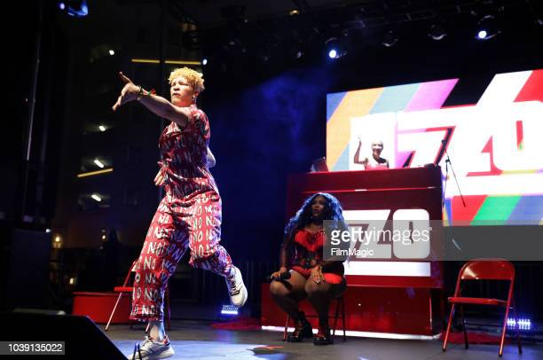 Shaun Ross performs with Lizzo on Huntridge Stage during the 2018 Life Is Beautiful Festival on September 23 2018 in Las Vegas Nevada