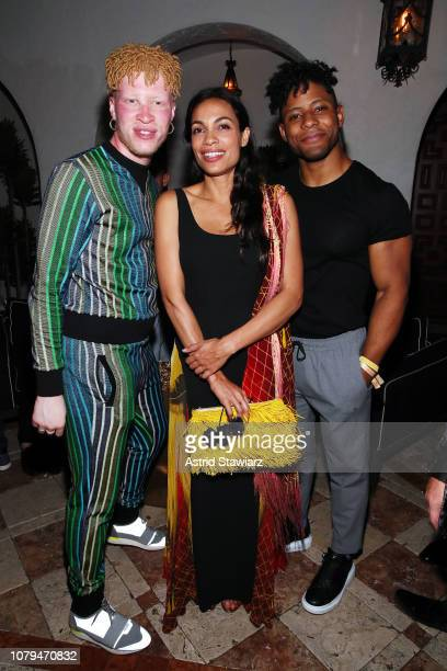 Shaun Ross Rosario Dawson and Kaleb O Lee attend What Goes Around Comes Around 25th Anniversary Celebration At The Versace Mansion With a...