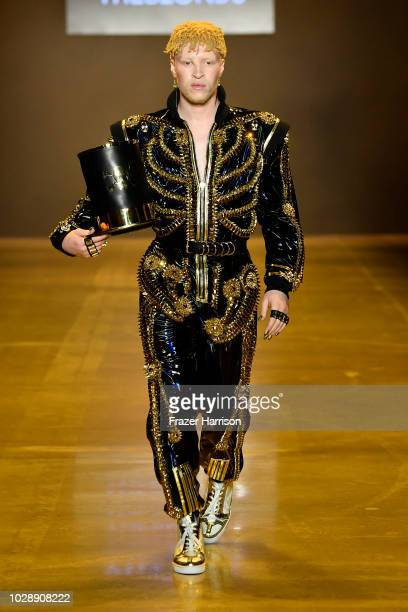 Shaun Ross walks the runway at the Disney Villains x The Blonds NYFW Show during New York Fashion Week The Shows at Gallery I at Spring Studios on...