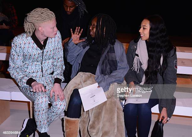 Shaun Ross Whoopi Goldberg and Jerzey Dean attend the August Getty fashion show during MercedesBenz Fashion Week Fall 2015 at The Salon at Lincoln...