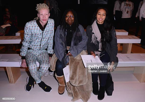 Shaun Ross Whoopi Goldberg Jerzey Dean attend the August Getty fashion show during MercedesBenz Fashion Week Fall 2015 at The Salon at Lincoln Center...