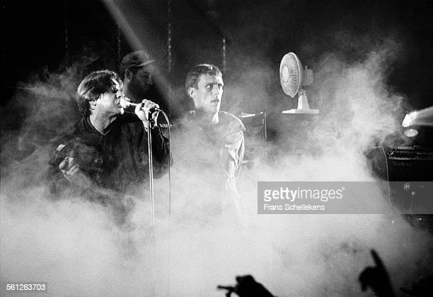 Shaun Ryder, vocals, and Mark Berry performs with the Happy Mondays at the Paradiso on October 27th 1991 in Amsterdam, Netherlands.