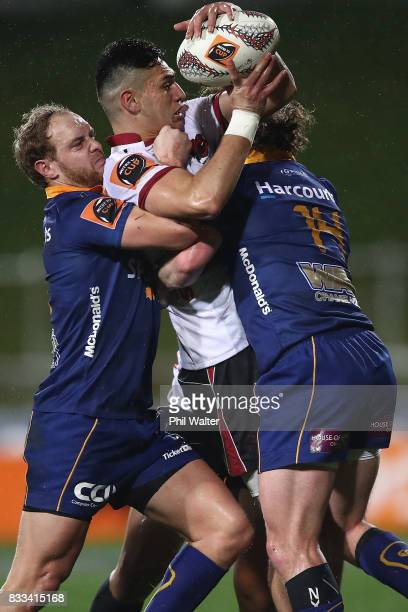 Shaun Stevenson of North Harbour is tackled during the round one Mitre 10 Cup match between North Harbour and Otago at QBE Stadium on August 17, 2017...
