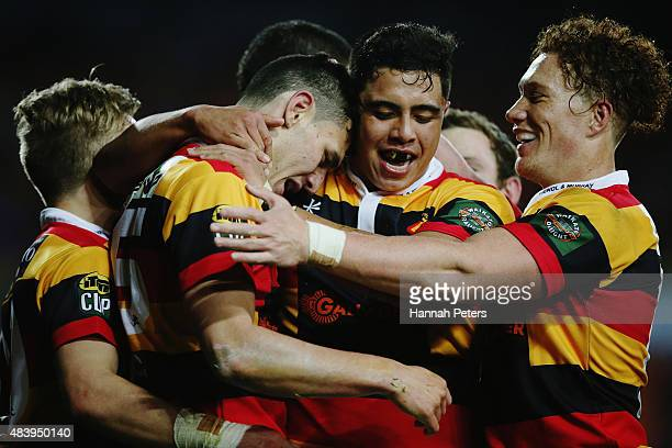 Shaun Stevenson of Waikato celebrates with Anton LienertBrown of Waikato and Declan ODonnell of Waikato after scoring a try during the round one ITM...