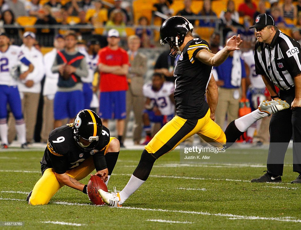Shaun Suisham #6 of the Pittsburgh Steelers kicks the game winning field goal during the fourth quarter against the Buffalo Bills at Heinz Field on August 16, 2014 in Pittsburgh, Pennsylvania. Pittsburgh won the game 19-16.