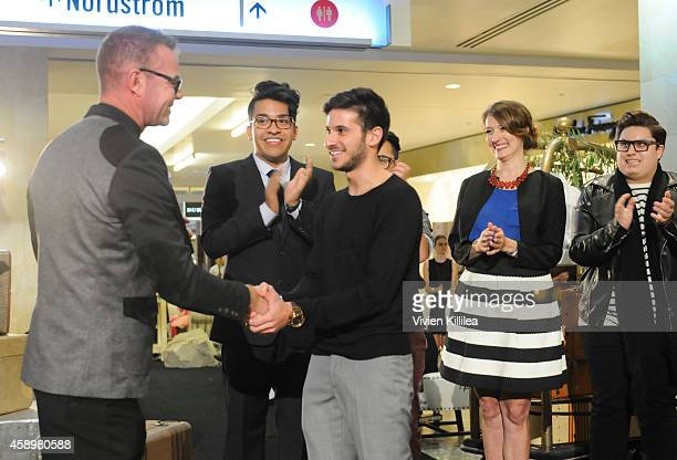 Shaun Swanger Vice President of Marketing presents FIDM Fashion Design Student Ali Jawad his award at Westfield Style Hosts Cocktails Couture at...